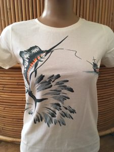 Organic fair-trade vintage marlin print T shirt