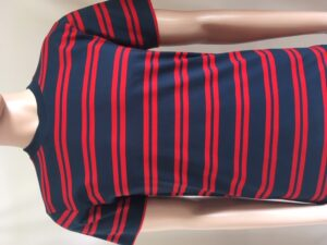 Mans red/navy striped t shirt